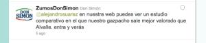 Comentario Twitter Don Simon a Alvalle