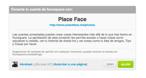 Conectar PlaceFace con Foursquare