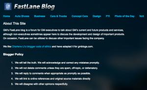 Detalle de politica de blogging de GM