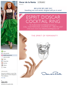 Oscar de la renta Facebook Commerce