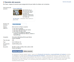 Ultimo paso de Facebook ads