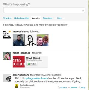 Pestañas de actividad y menciones en Twitter